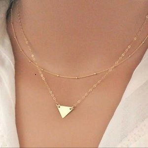 2 Layer Dainty Triangle Necklace